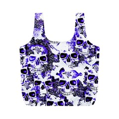 Cloudy Skulls White Blue Full Print Recycle Bags (M)