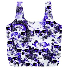 Cloudy Skulls White Blue Full Print Recycle Bags (L)