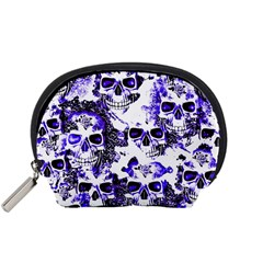 Cloudy Skulls White Blue Accessory Pouches (Small)