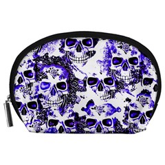 Cloudy Skulls White Blue Accessory Pouches (Large)