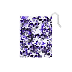 Cloudy Skulls White Blue Drawstring Pouches (Small)