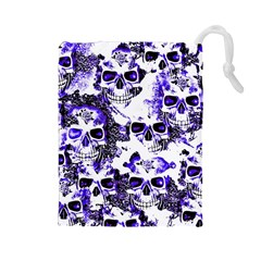 Cloudy Skulls White Blue Drawstring Pouches (Large)