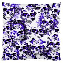 Cloudy Skulls White Blue Large Flano Cushion Case (Two Sides)