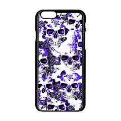 Cloudy Skulls White Blue Apple iPhone 6/6S Black Enamel Case