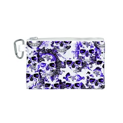 Cloudy Skulls White Blue Canvas Cosmetic Bag (S)