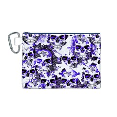 Cloudy Skulls White Blue Canvas Cosmetic Bag (M)