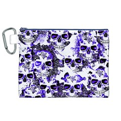 Cloudy Skulls White Blue Canvas Cosmetic Bag (XL)