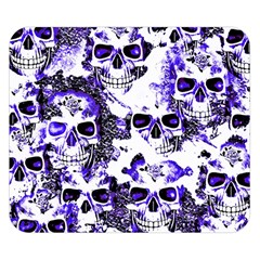Cloudy Skulls White Blue Double Sided Flano Blanket (Small)