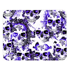 Cloudy Skulls White Blue Double Sided Flano Blanket (Large)