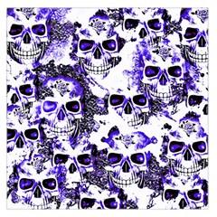 Cloudy Skulls White Blue Large Satin Scarf (Square)