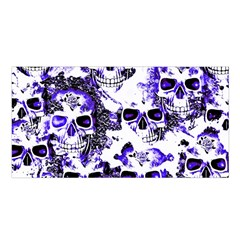 Cloudy Skulls White Blue Satin Shawl
