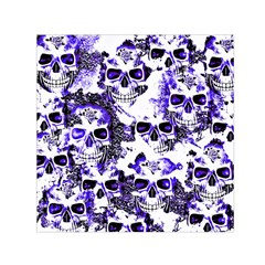 Cloudy Skulls White Blue Small Satin Scarf (Square)