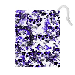 Cloudy Skulls White Blue Drawstring Pouches (Extra Large)