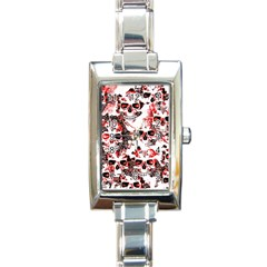 Cloudy Skulls White Red Rectangle Italian Charm Watch