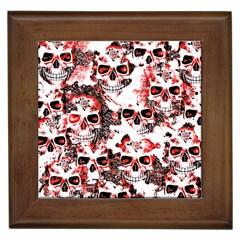 Cloudy Skulls White Red Framed Tiles