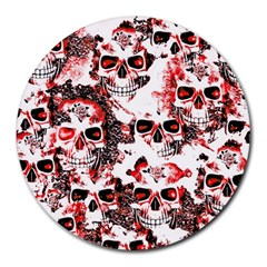 Cloudy Skulls White Red Round Mousepads