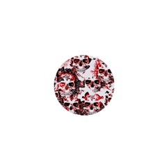 Cloudy Skulls White Red 1  Mini Buttons