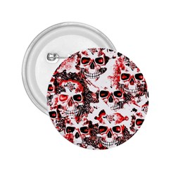 Cloudy Skulls White Red 2.25  Buttons