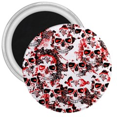 Cloudy Skulls White Red 3  Magnets