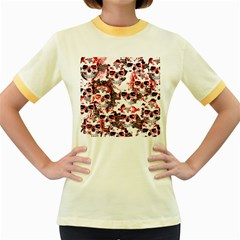 Cloudy Skulls White Red Women s Fitted Ringer T-Shirts