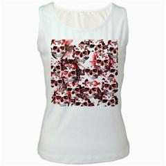 Cloudy Skulls White Red Women s White Tank Top