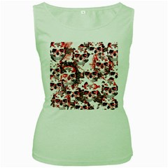 Cloudy Skulls White Red Women s Green Tank Top