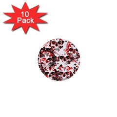 Cloudy Skulls White Red 1  Mini Buttons (10 pack)
