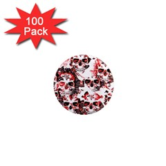 Cloudy Skulls White Red 1  Mini Magnets (100 pack)