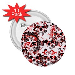 Cloudy Skulls White Red 2.25  Buttons (10 pack)
