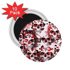 Cloudy Skulls White Red 2.25  Magnets (10 pack)