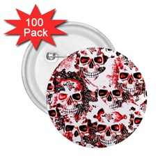 Cloudy Skulls White Red 2.25  Buttons (100 pack)
