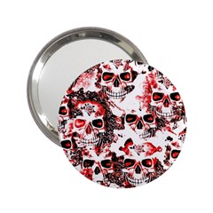 Cloudy Skulls White Red 2.25  Handbag Mirrors