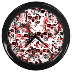Cloudy Skulls White Red Wall Clocks (Black)
