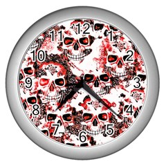 Cloudy Skulls White Red Wall Clocks (Silver)