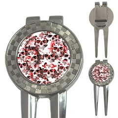 Cloudy Skulls White Red 3-in-1 Golf Divots