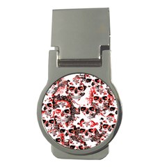 Cloudy Skulls White Red Money Clips (Round)