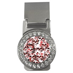 Cloudy Skulls White Red Money Clips (CZ)