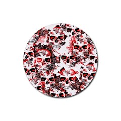 Cloudy Skulls White Red Rubber Coaster (Round)
