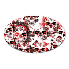 Cloudy Skulls White Red Oval Magnet