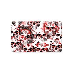 Cloudy Skulls White Red Magnet (Name Card)