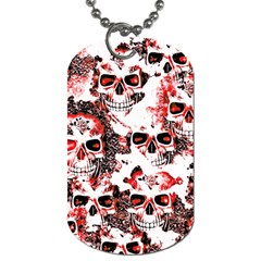 Cloudy Skulls White Red Dog Tag (Two Sides)