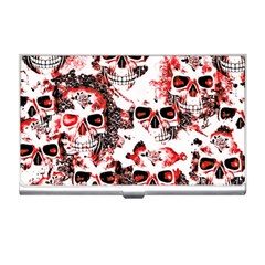Cloudy Skulls White Red Business Card Holders