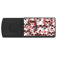 Cloudy Skulls White Red USB Flash Drive Rectangular (1 GB)