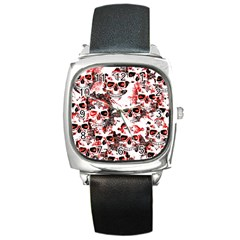 Cloudy Skulls White Red Square Metal Watch