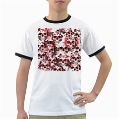 Cloudy Skulls White Red Ringer T-Shirts