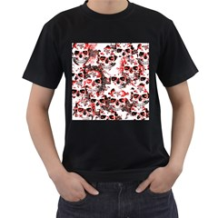 Cloudy Skulls White Red Men s T-Shirt (Black) (Two Sided)