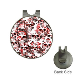 Cloudy Skulls White Red Hat Clips with Golf Markers