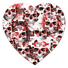 Cloudy Skulls White Red Jigsaw Puzzle (Heart)