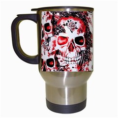 Cloudy Skulls White Red Travel Mugs (White)