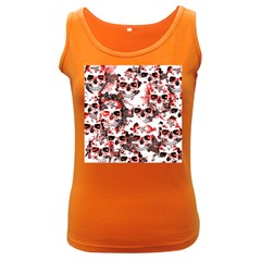 Cloudy Skulls White Red Women s Dark Tank Top